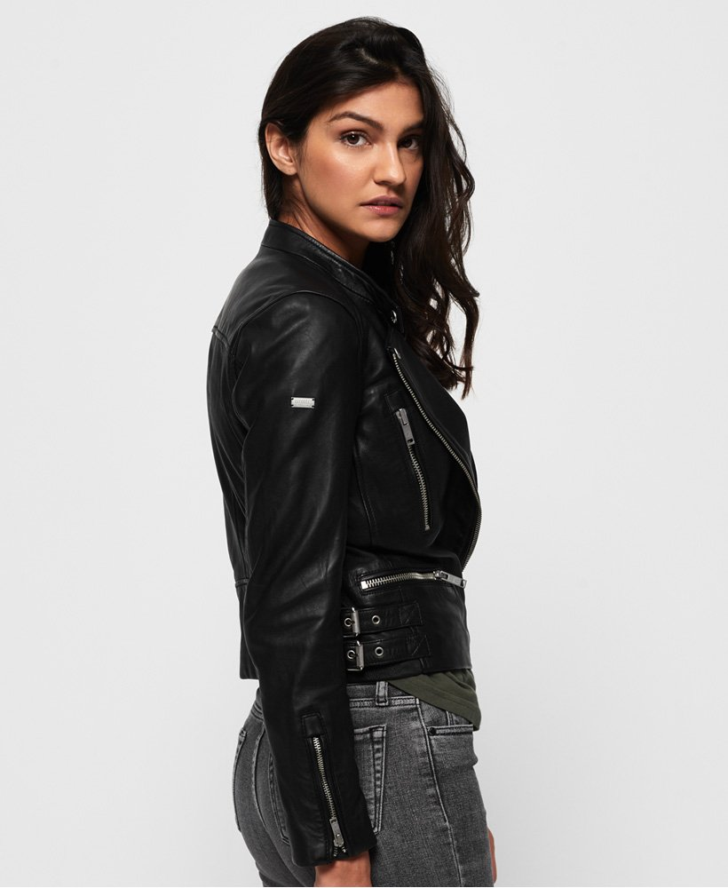 Superdry Lyla Leather Biker Jacket thumbnail 1