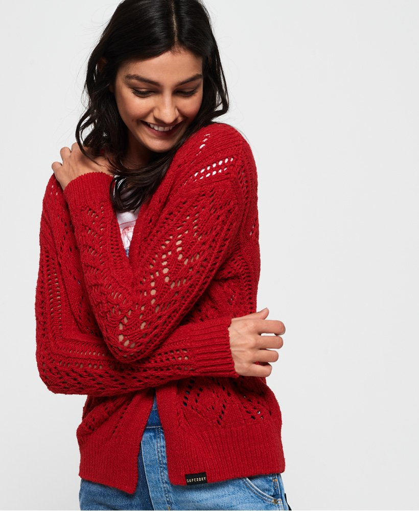 Superdry Amira Textured Pointelle Cardigan thumbnail 1