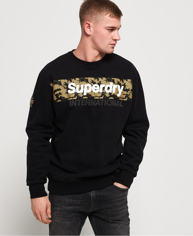 Superdry International Logo Overhead Sweat Crew Neck Sweatshirt Top Black