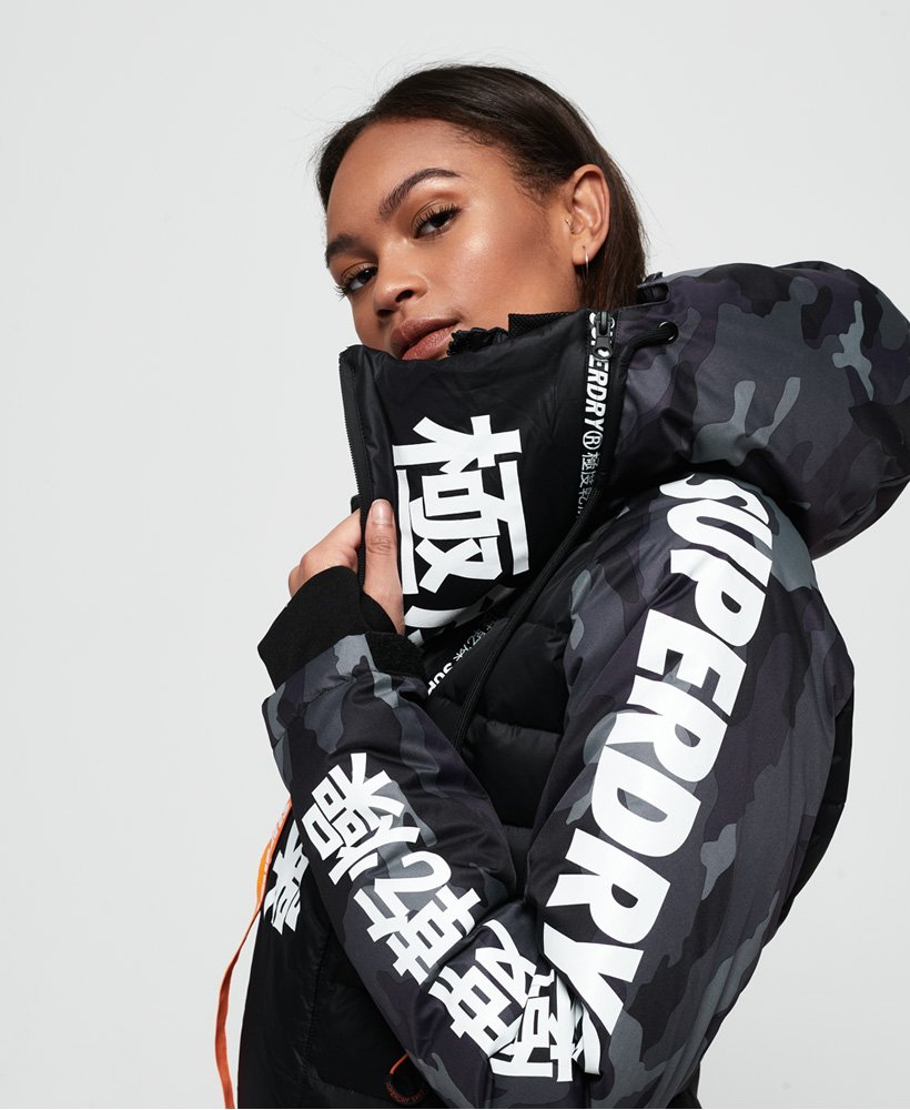 Japan Edition CamoSuperdry Womens In Jacket Down Snow Black iukZPOX