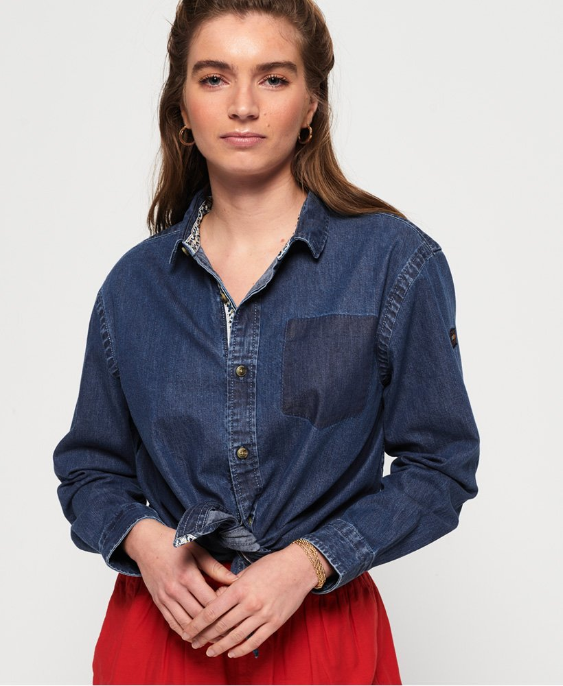 Superdry Camicia annodata in denim