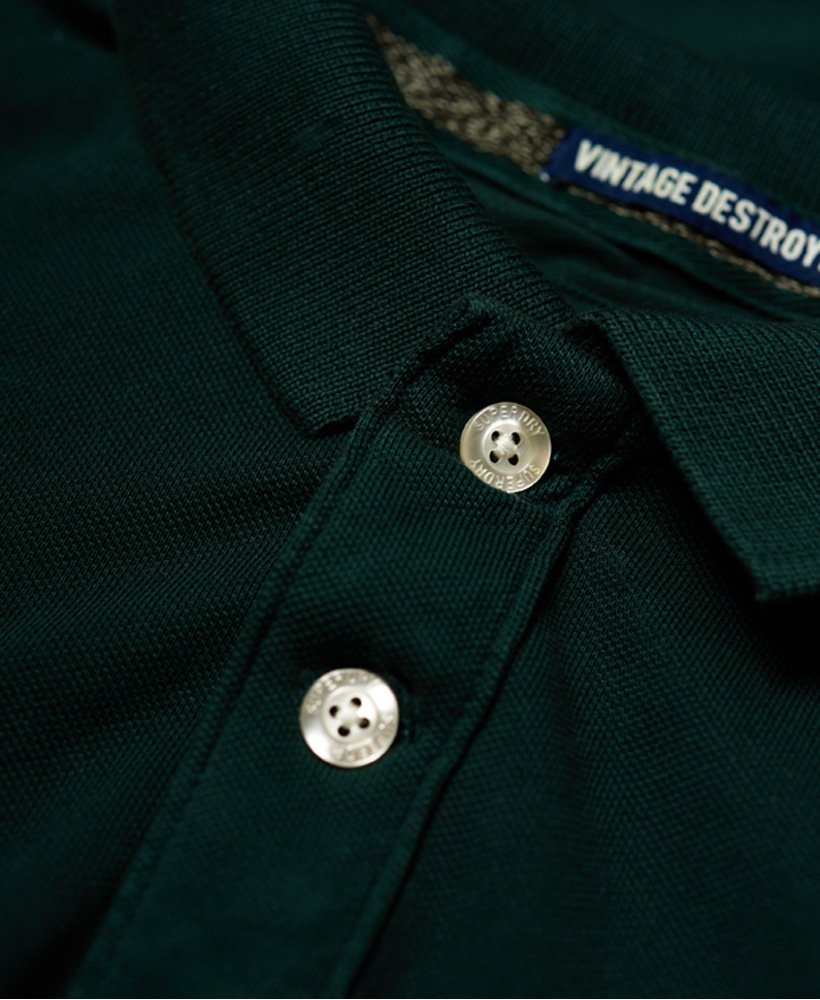 New Mens Superdry Vintage Destroyed Pique Polo Shirt Ava Green