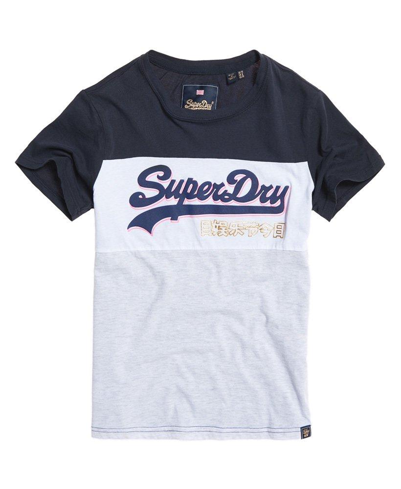 Nouveau DéBARDEUR SUPERDRY VINTAGE LOGO Colour Block Sweat à capuche bleu marine Eclipse