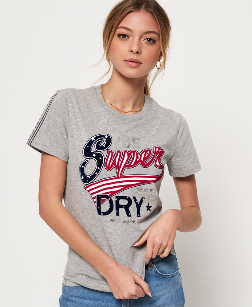 Superdry American Script T-shirt med flock-print thumbnail 1