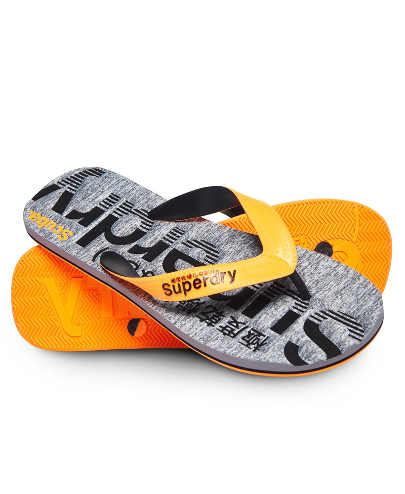 a04a62e26c6c Mens - Scuba Grit Flip Flop in Fluro Orange black grey Grit