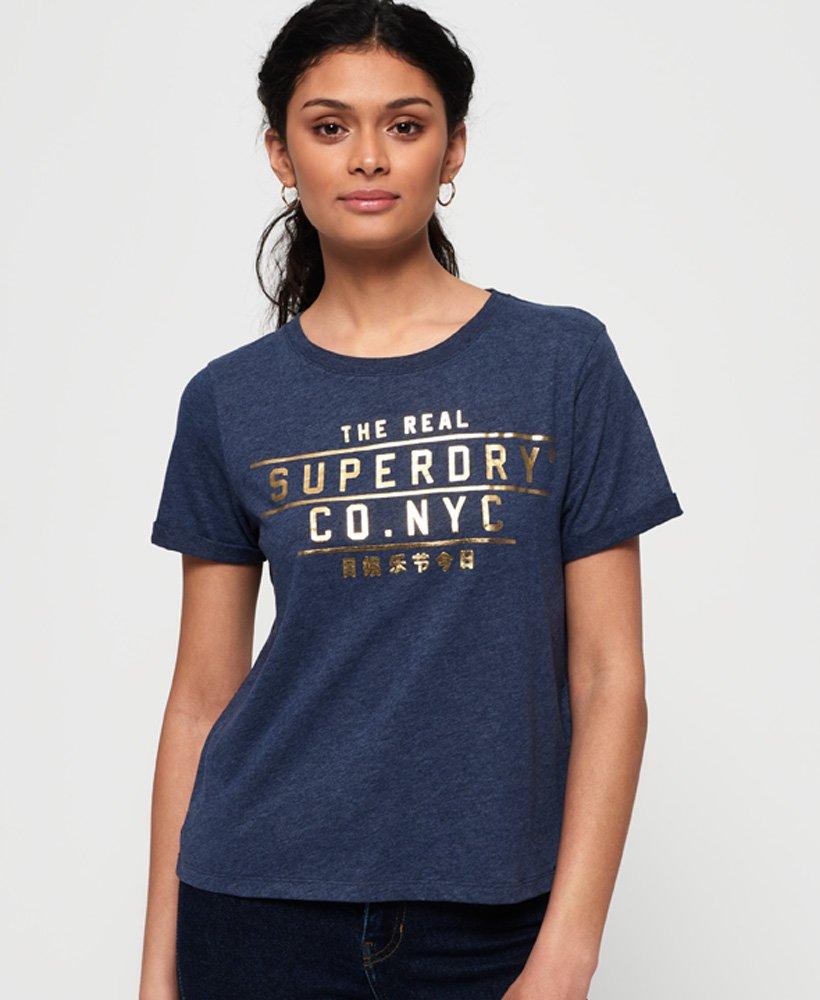 Superdry T-shirt ample à logo lamé Premium NYC thumbnail 1