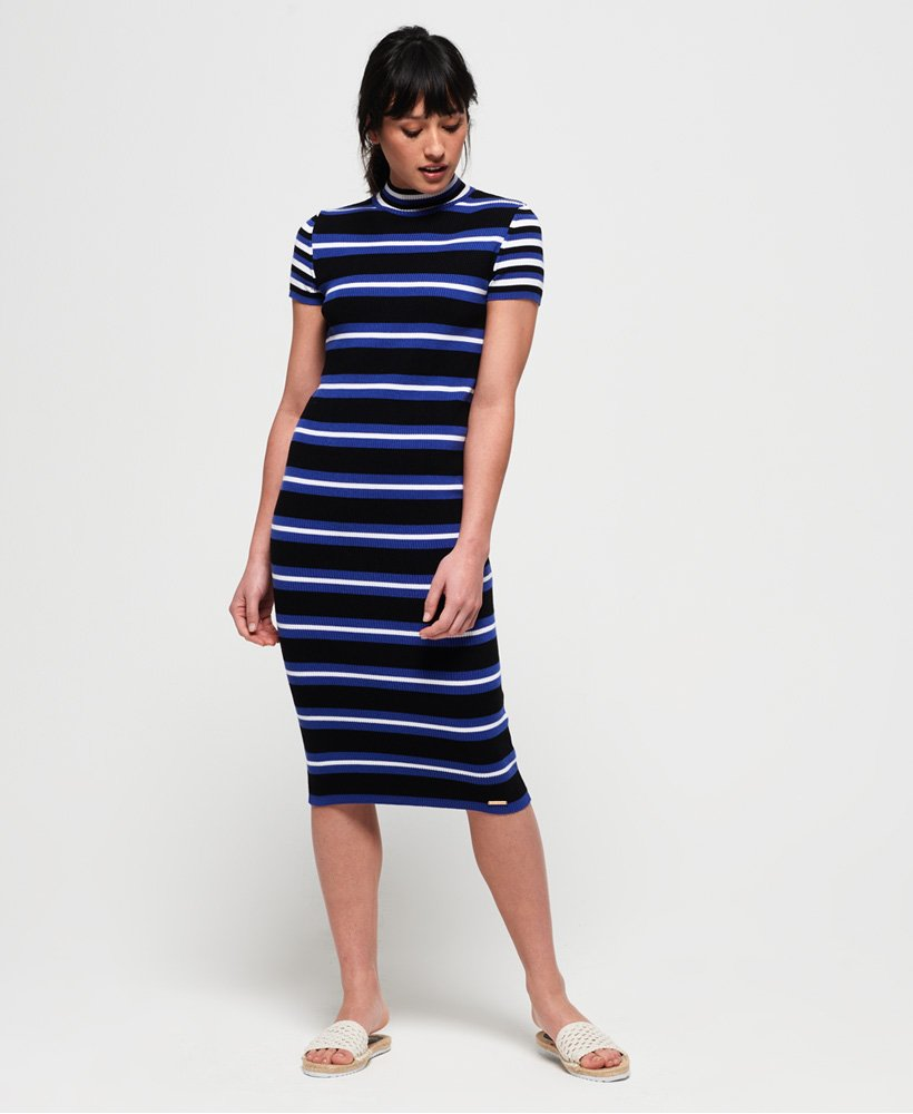 Superdry Sporty Striped Ribbed Knitted Dress thumbnail 1