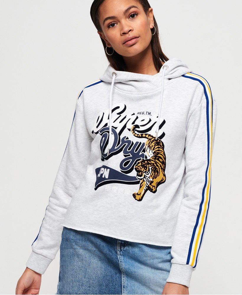 Superdry True Japan Tiger kort collegegenser med hette thumbnail 1