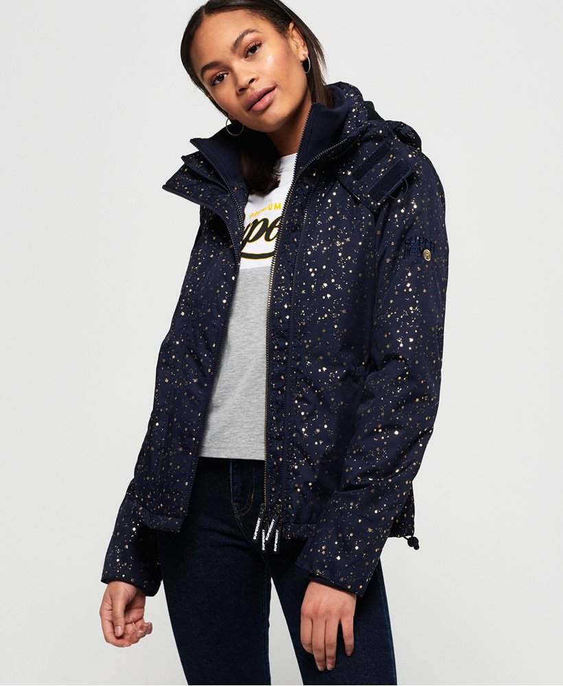 Superdry Arctic Print Pop Zip SD-Windcheater vindjacka med huva thumbnail 1