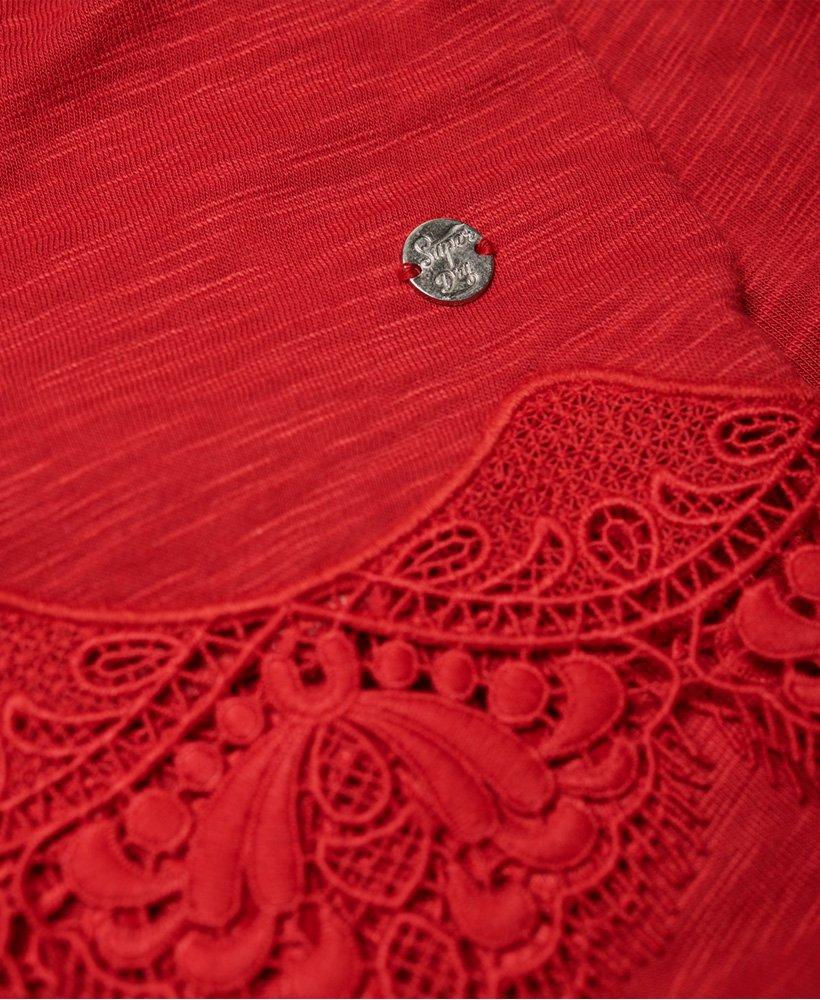 T shirt avec ourlet en dentelle Morocco Superdry Rouge Brûlé