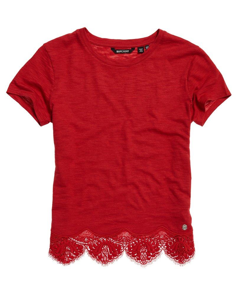 Superdry T skjorte med marokkansk blondekant Dame T skjorter