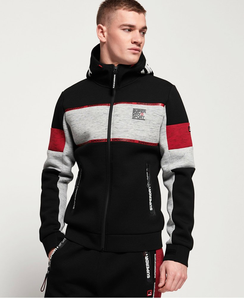 Superdry Felpa con cappuccio e zip Gym Tech Stretch Block thumbnail 1