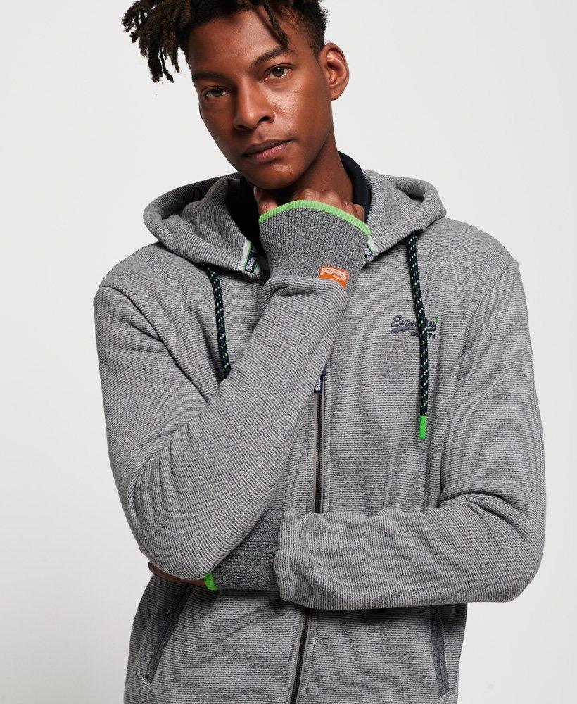 Superdry Mens New Orange Label Hyper Pop ZipHood Hoody Full Zip Grey Feeder