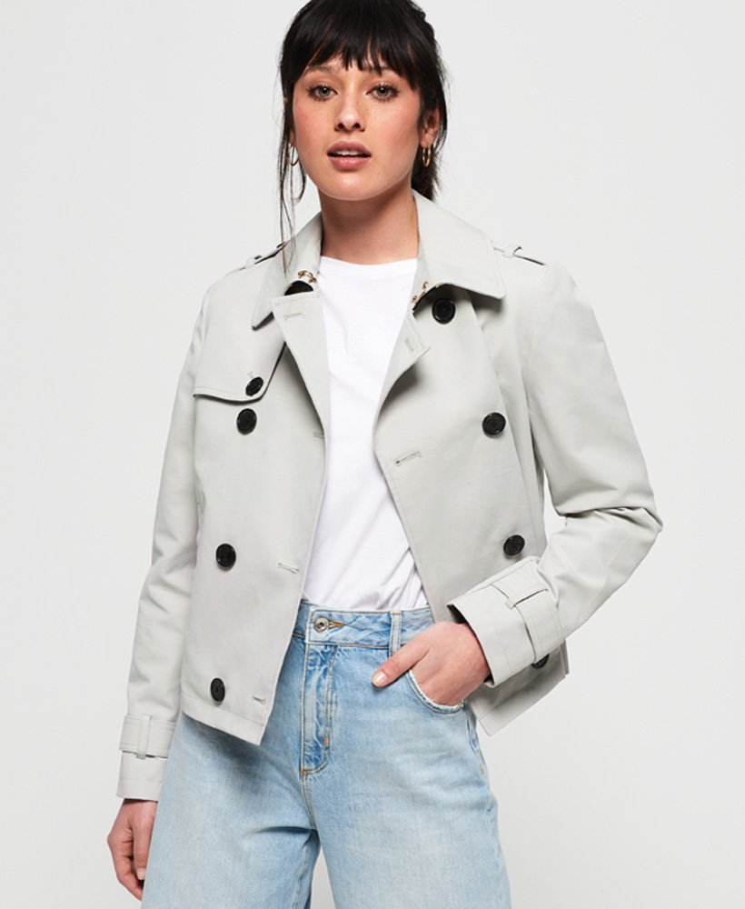 Superdry Cropped Azure Trench Coat thumbnail 1