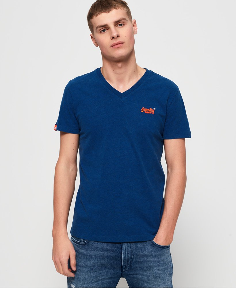 Superdry T-shirt brodé à col V Vintage Orange Label  thumbnail 1