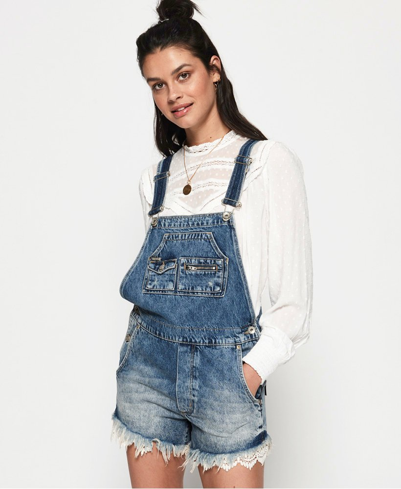 Superdry Denim Lace Dungarees thumbnail 1
