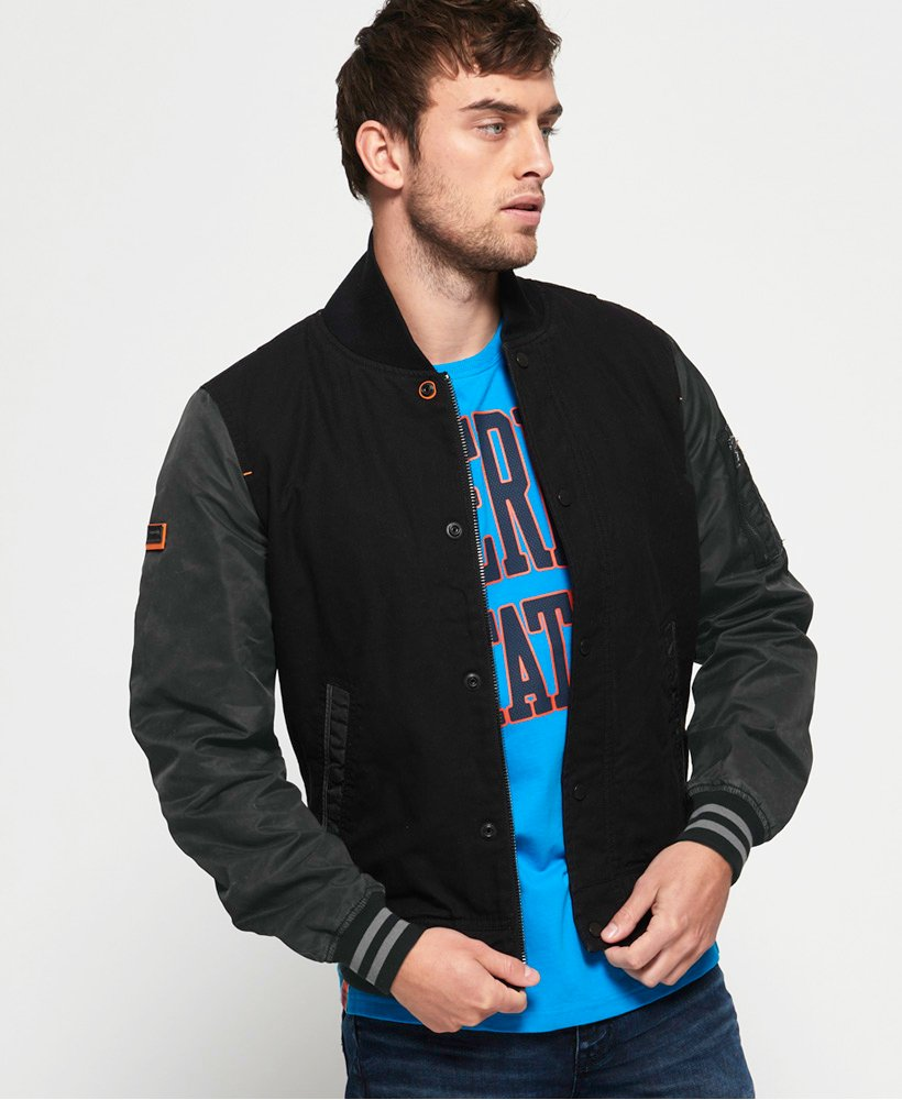 Superdry Pigment Denim Mix Bomber Jacket thumbnail 1
