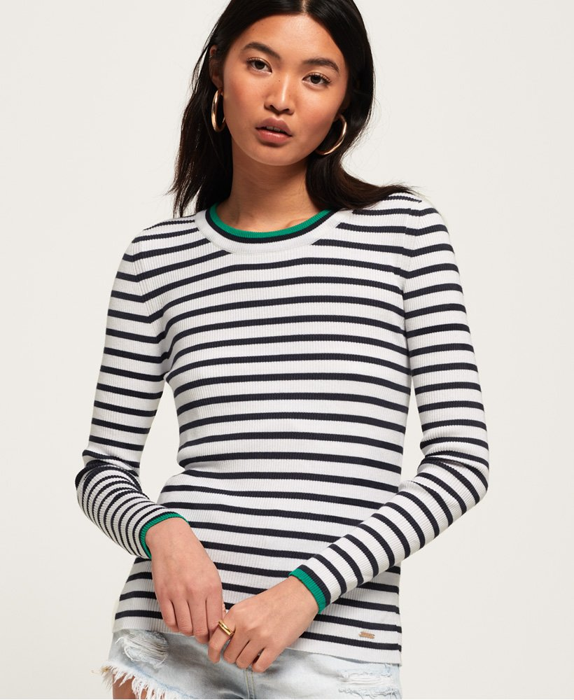 Superdry Kasey Tipped Ribbed Crew Knit thumbnail 1