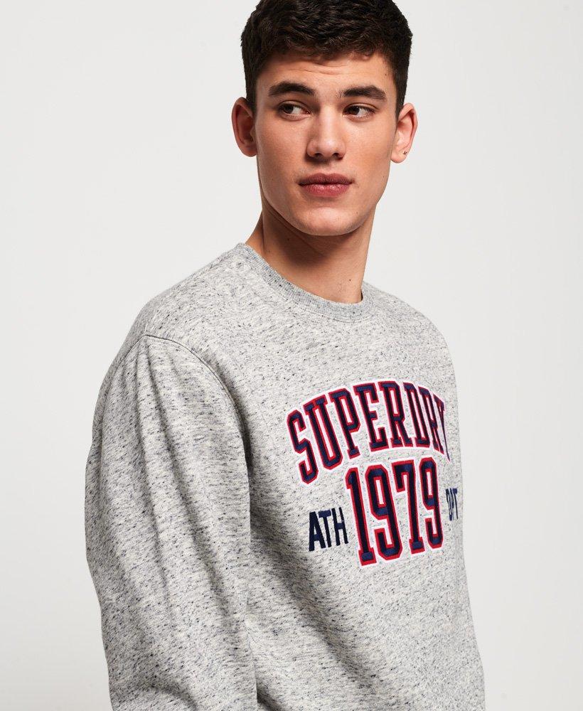 Superdry Men/'s College Boxy Fit Applique Sweatshirt Grey