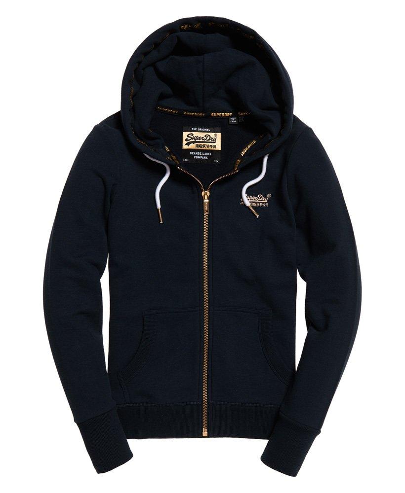 Navy Superdry Hoodie Orange Label Lite Zip Sweat Hoodie Grey
