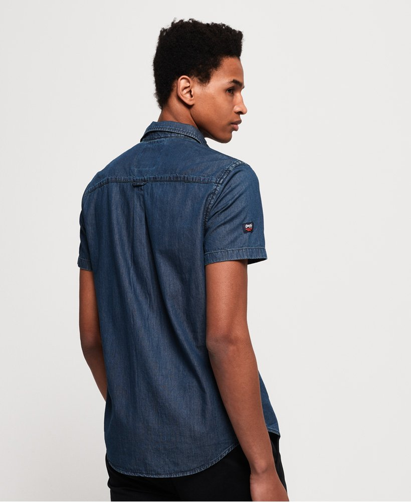 Superdry Men/'s Miami Loom S//S Shirt Oil Blue Wash