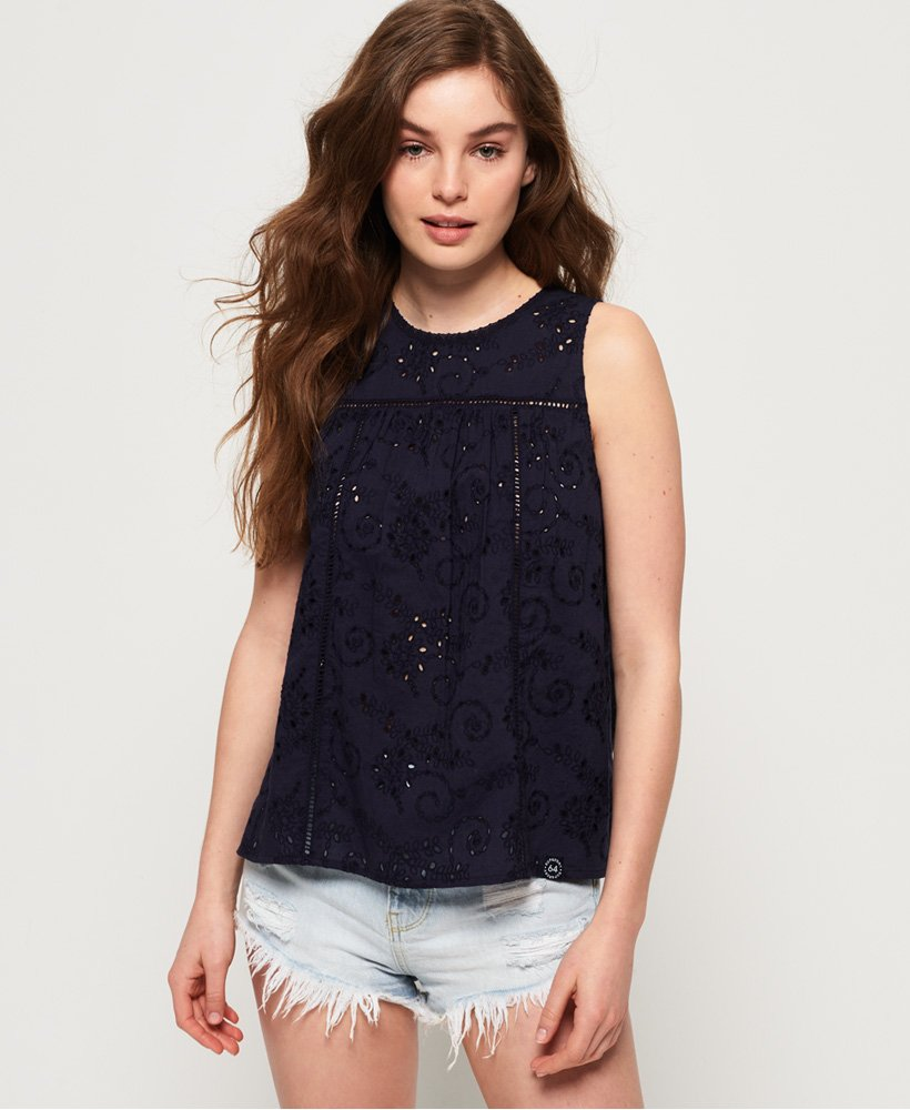 Superdry Shelly Schiffli Vest Top thumbnail 1