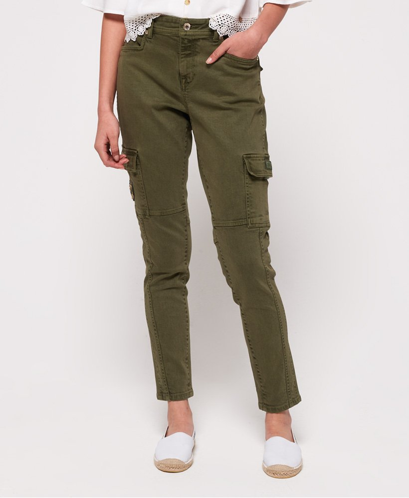 Thyme Khaki All Sizes Superdry Daisey Skinny Womens Pants Cargo