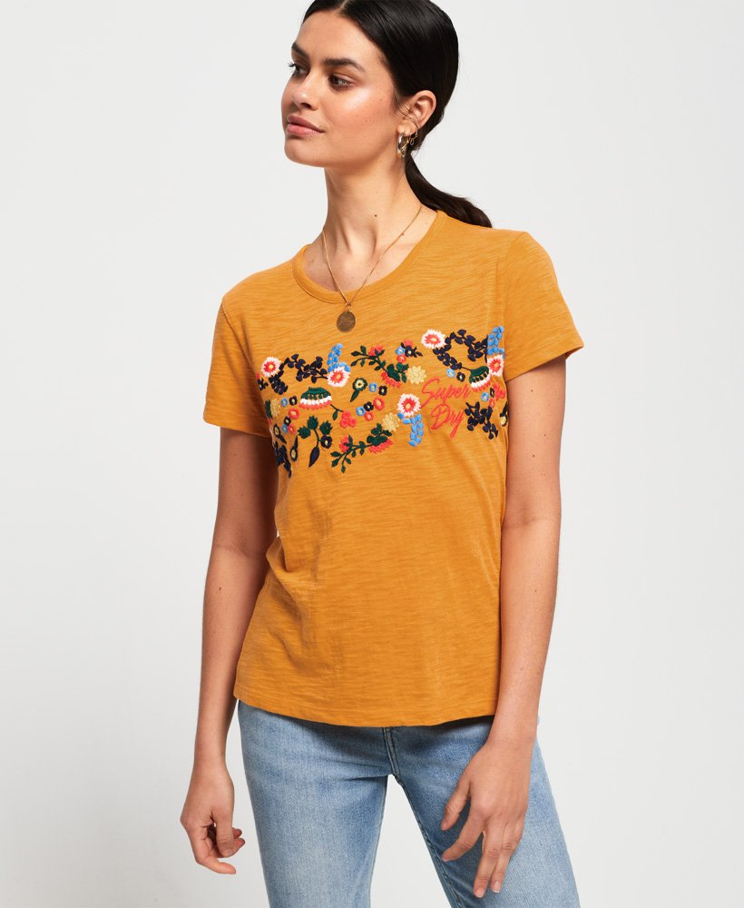 49aa4993976814 Womens - Lexi Embroidered T-Shirt in Desert Ochre