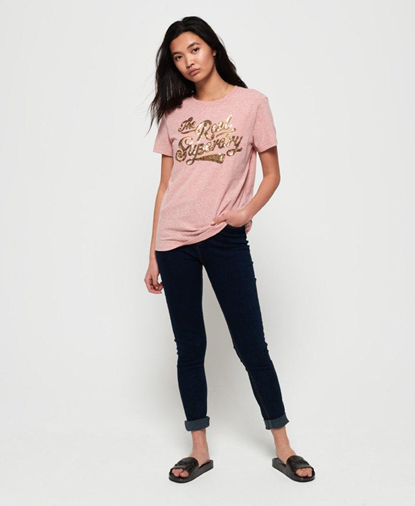 Superdry The Real Glitter Sequin T skjorte Dame T skjorter