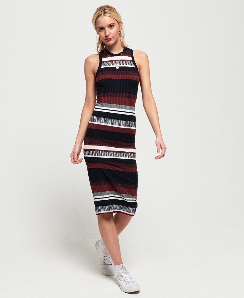 Superdry Knitted Stripe Midi Dress thumbnail 1
