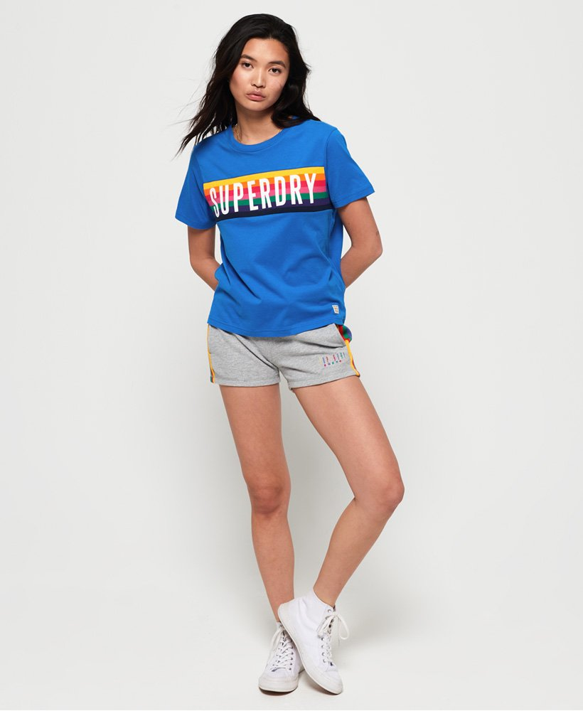 41747815b Womens - Rainbow Graphic T-Shirt in 70s Blue | Superdry