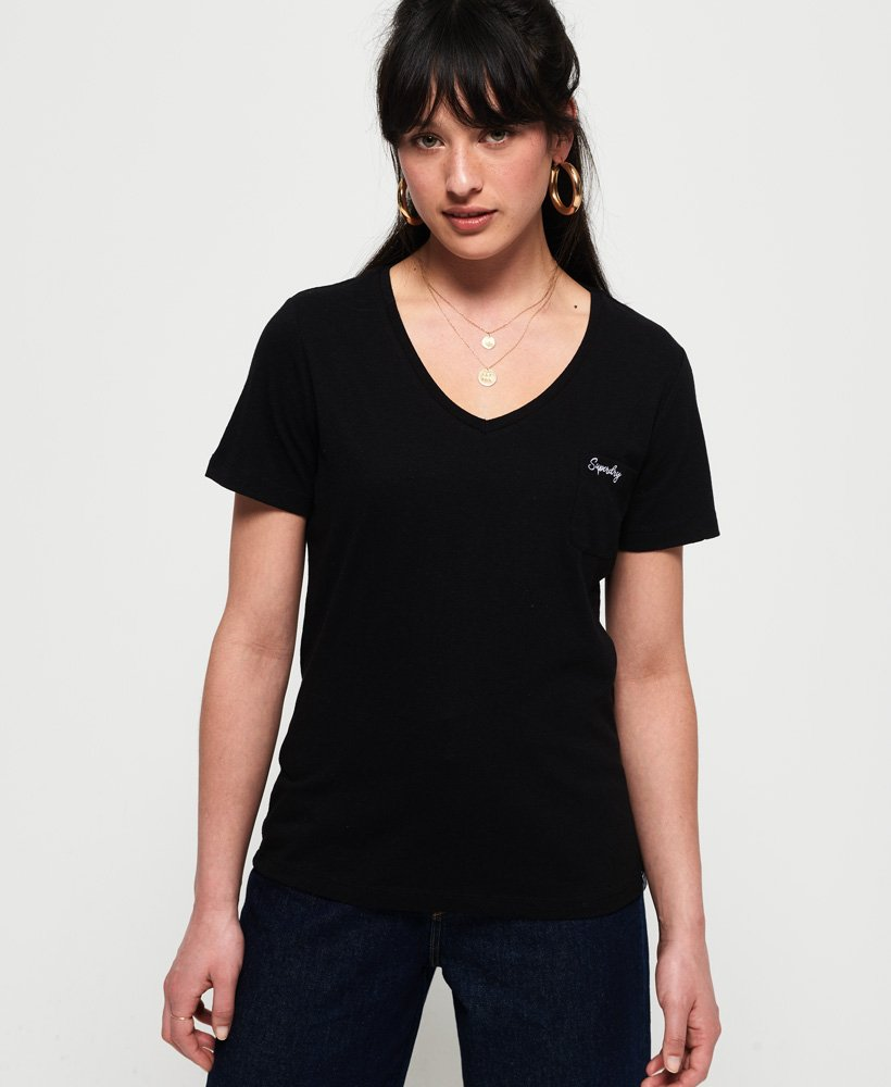 Superdry Damen Essential T-Shirt Mit V-Ausschnitt Aus Der Orange Label Kollekti