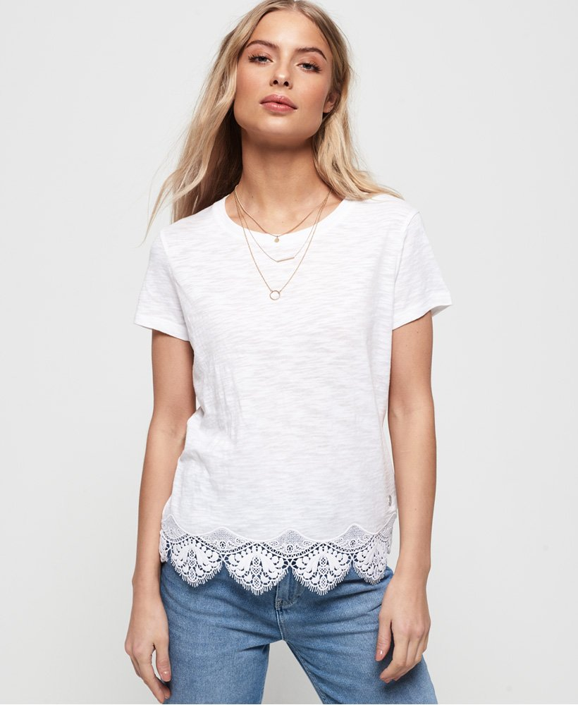 Superdry T-shirt con orlo in pizzo Morocco thumbnail 1