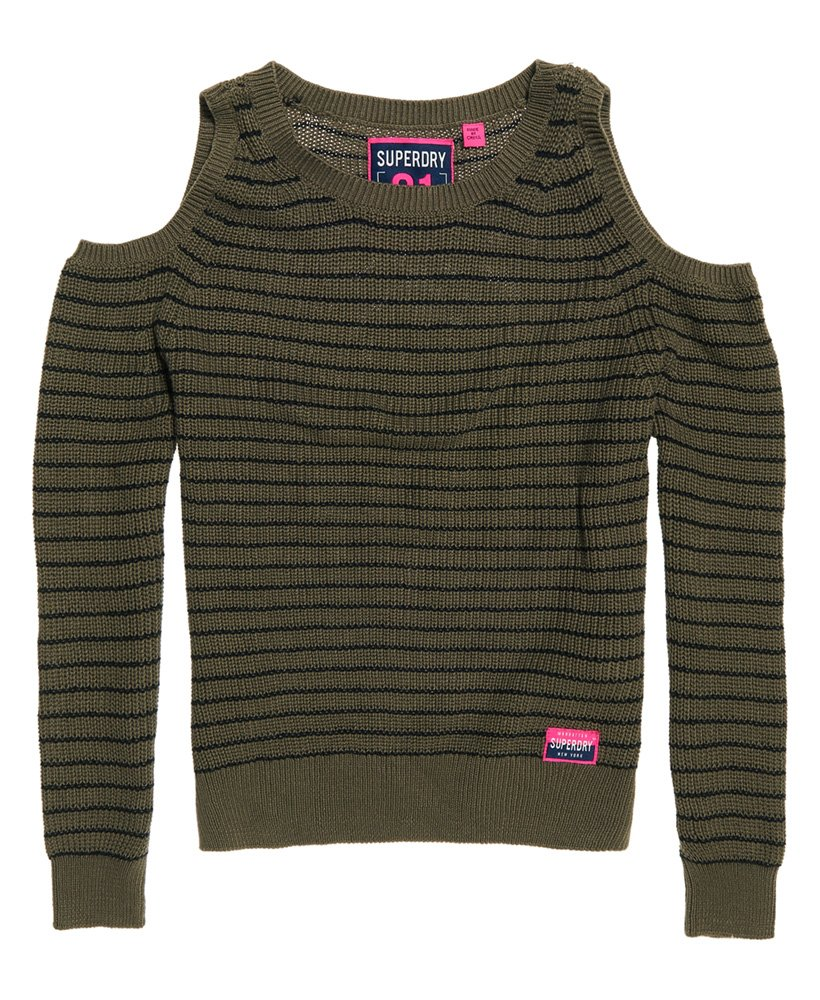 Superdry Ribbed Cold Shoulder Knit Top thumbnail 1