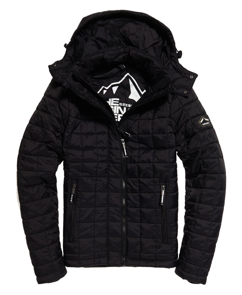 Mens Box Quilt Fuji Hooded Jacket In Black Superdry