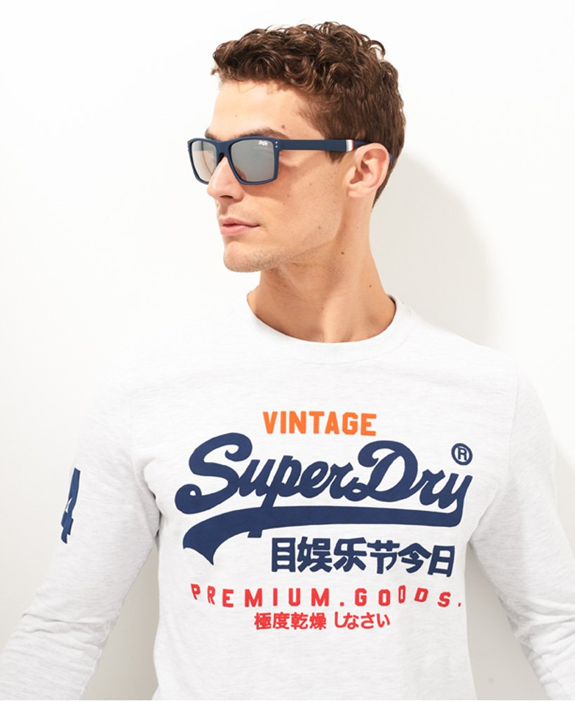 Blue Mirror Lense Superdry NEW Men/'s SDR Yakima Sunglasses Matte Grey Marl