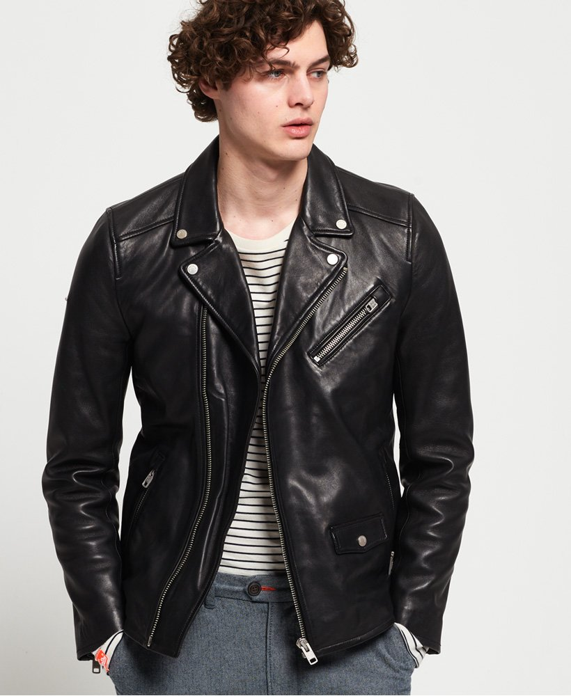 Superdry Hero Leather Biker Jacket  thumbnail 1