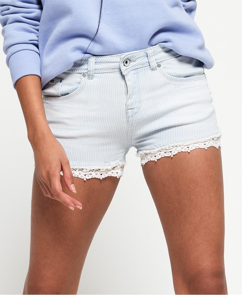 Superdry Denim Lace Hot Shorts thumbnail 1