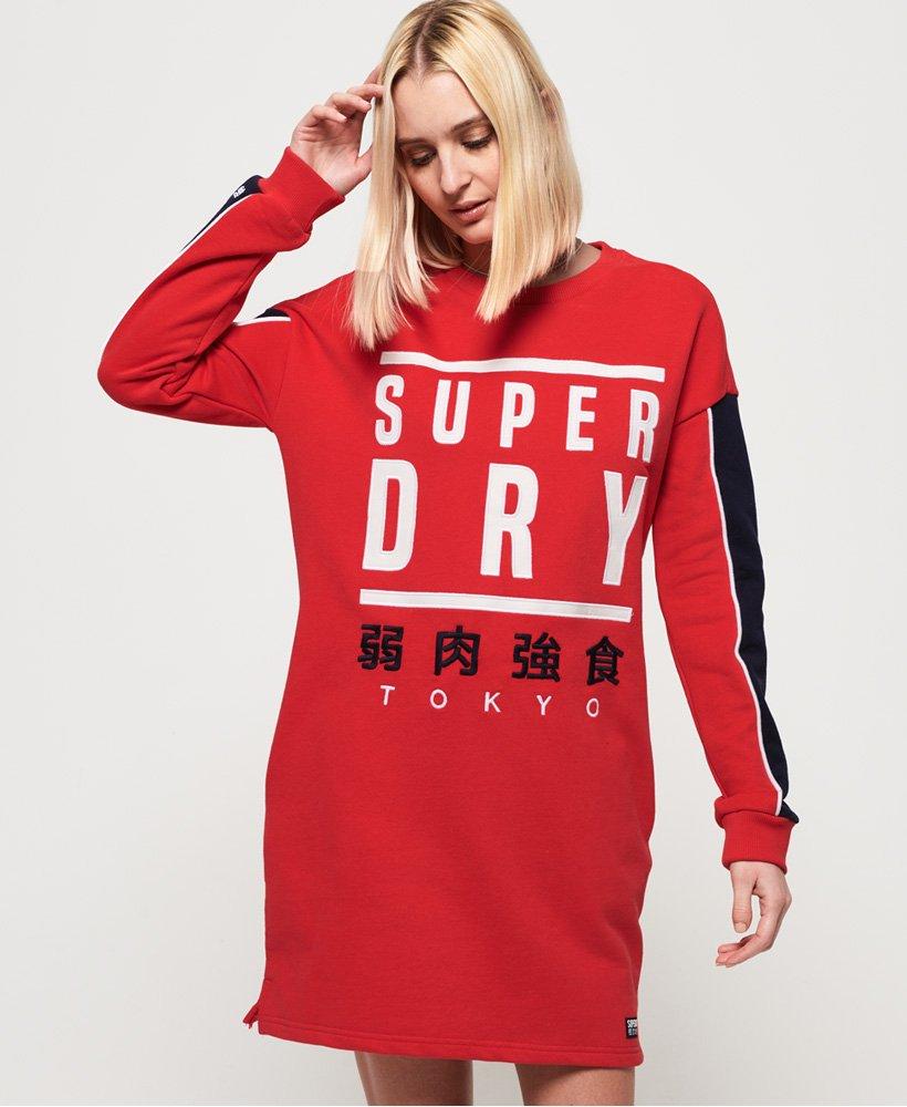 Superdry Vestido en tejido sudadera con gráfico y panel thumbnail 1