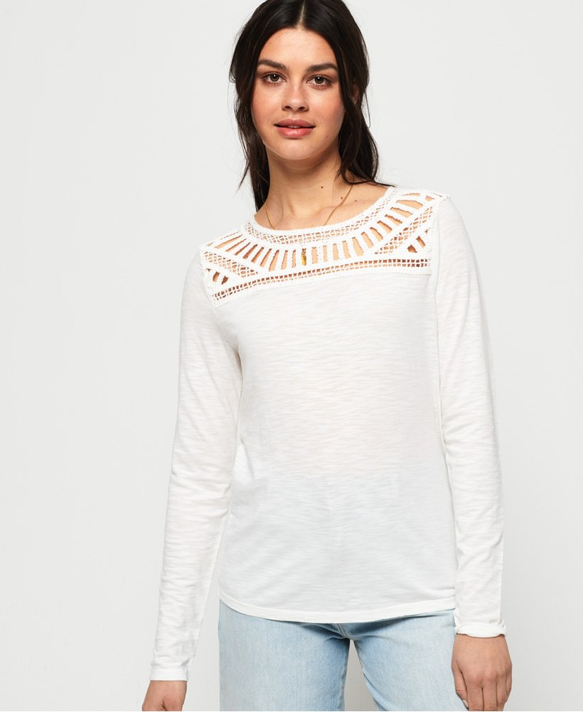 0cda07598eb Womens - Alana Crochet Lace Long Sleeve Top in Chalk | Superdry