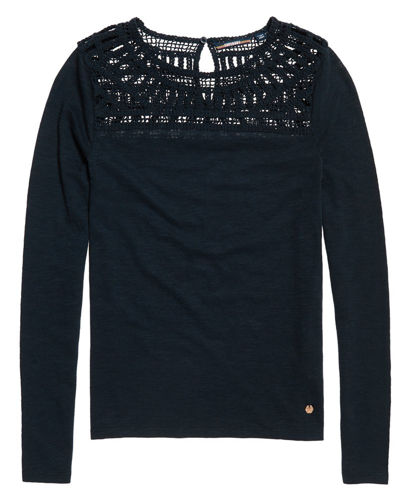 52f6f881fa4 Womens - Alana Crochet Lace Long Sleeve Top in Nautical Navy | Superdry