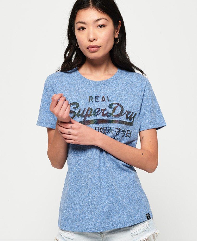 Superdry T-shirt pailleté avec logo vintage en relief thumbnail 1