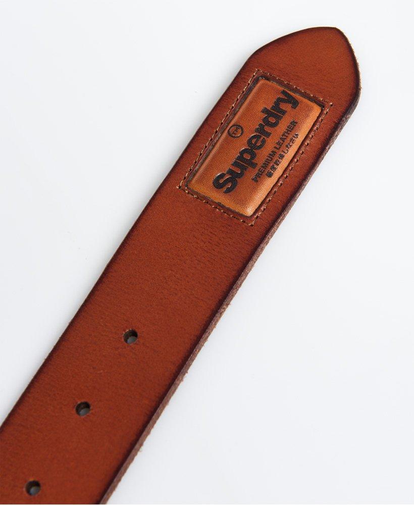 Tan Superdry Mens Badgeman Leather Belt