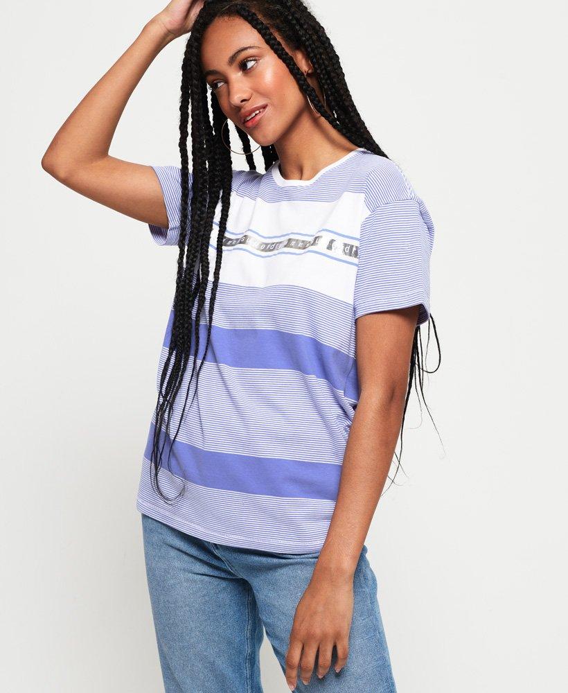 c892bfcc Womens - Minimal Logo Tape Stripe Portland T-Shirt in Scandi Blue ...