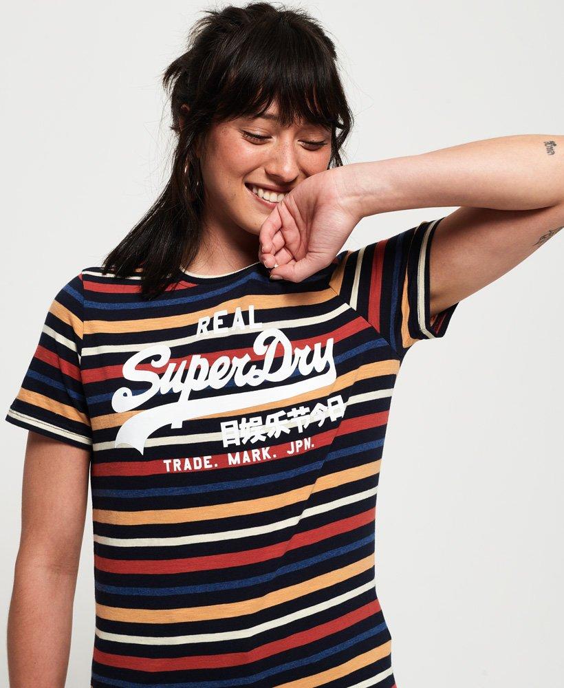 b266904bf1 Womens - Vintage Logo Stripe T-Shirt in Navy Stripe | Superdry