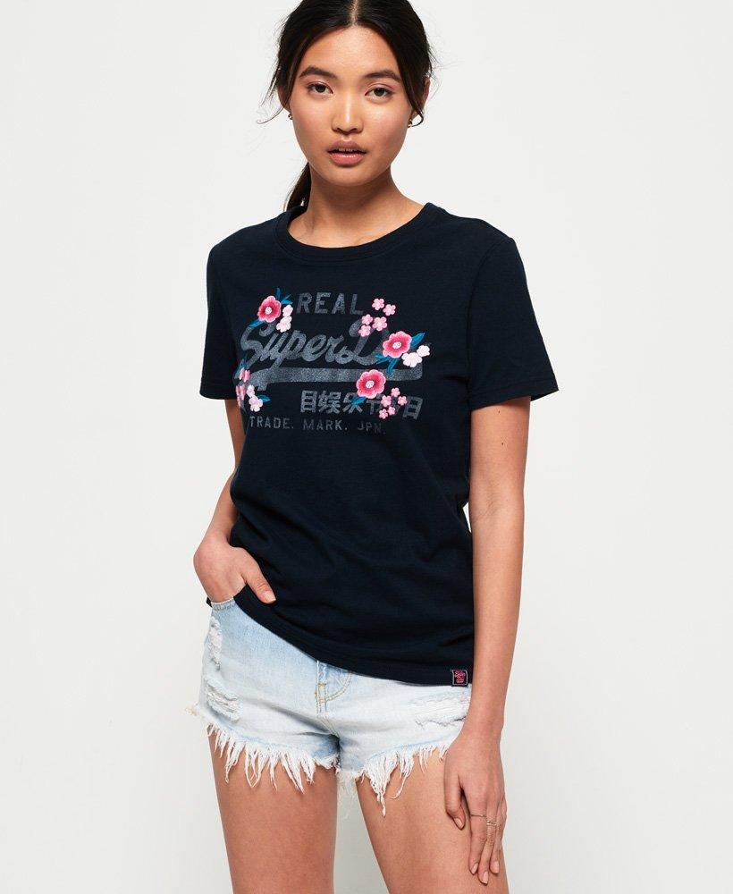 Superdry T shirt à fleurs brodées et logo Vintage T