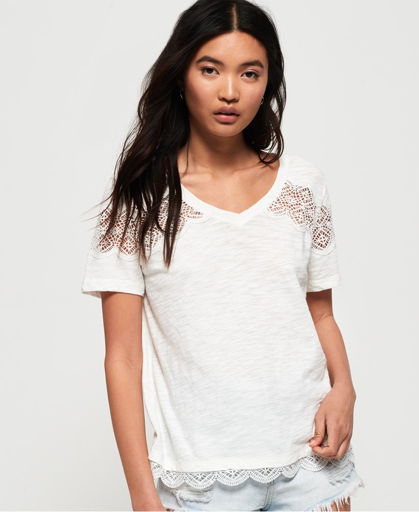 Superdry T-shirt avec empiècement dentelle Lizzie thumbnail 1