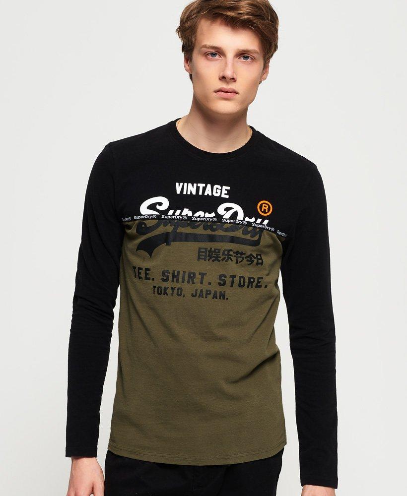 Mens Shirt Shop Split Panel T Shirt in Black | Superdry