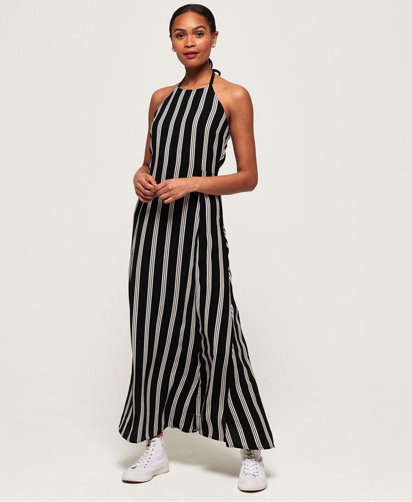 Womens Deck Stripe Maxi Dress in Triple Stripe Black