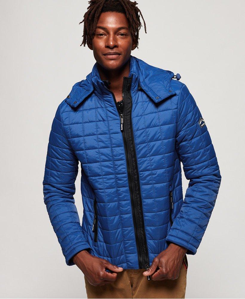 Superdry Vintage Fuji Quilted Hooded Jacket Cobalt Blue Size XL